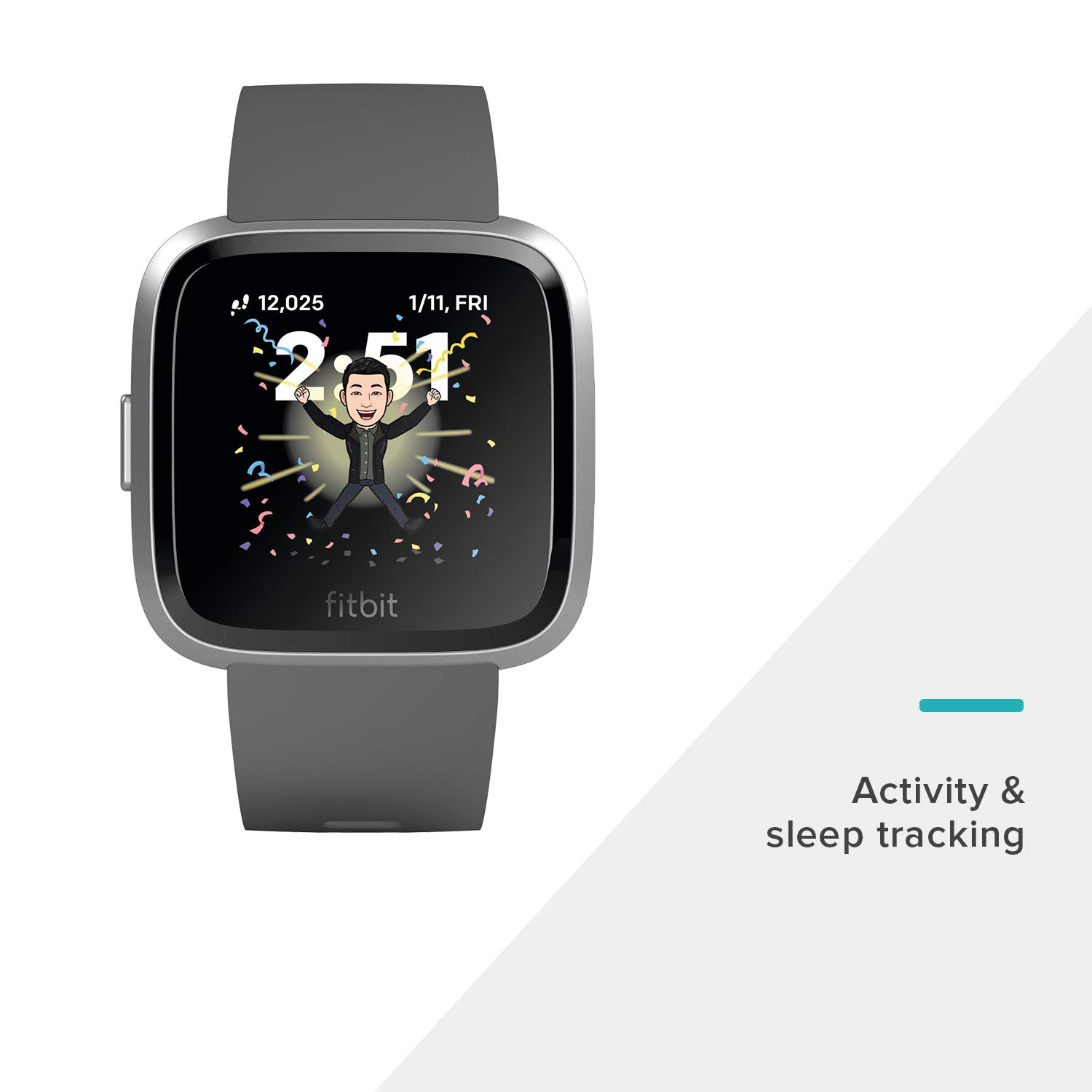 Fitbit Versa Lite Smartwatch, Charcoal/Silver Aluminum, One Size (S & L Bands Included) by Fitbit (Image #3)