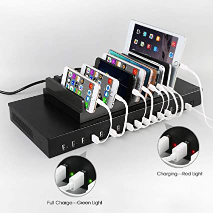 Sipolar 16 Port USB 2.0 Hub,High Speed Sync and Charging hub Built in 5V 40A PSU for Pad iPhone Tablet up to 2.4A Each Port