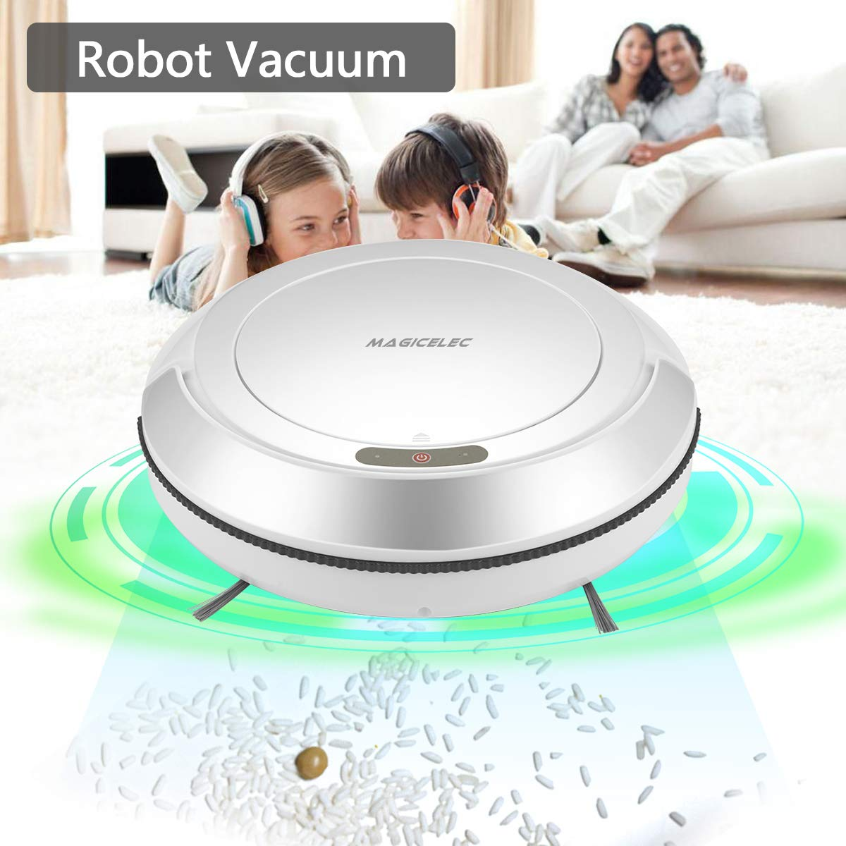 Amazon.com - Robotic Vacuum Cleaner, 1300Pa Strong Suction, Drop-Sensing Technology, Cleans Hard Floors Thin Carpet (White) -