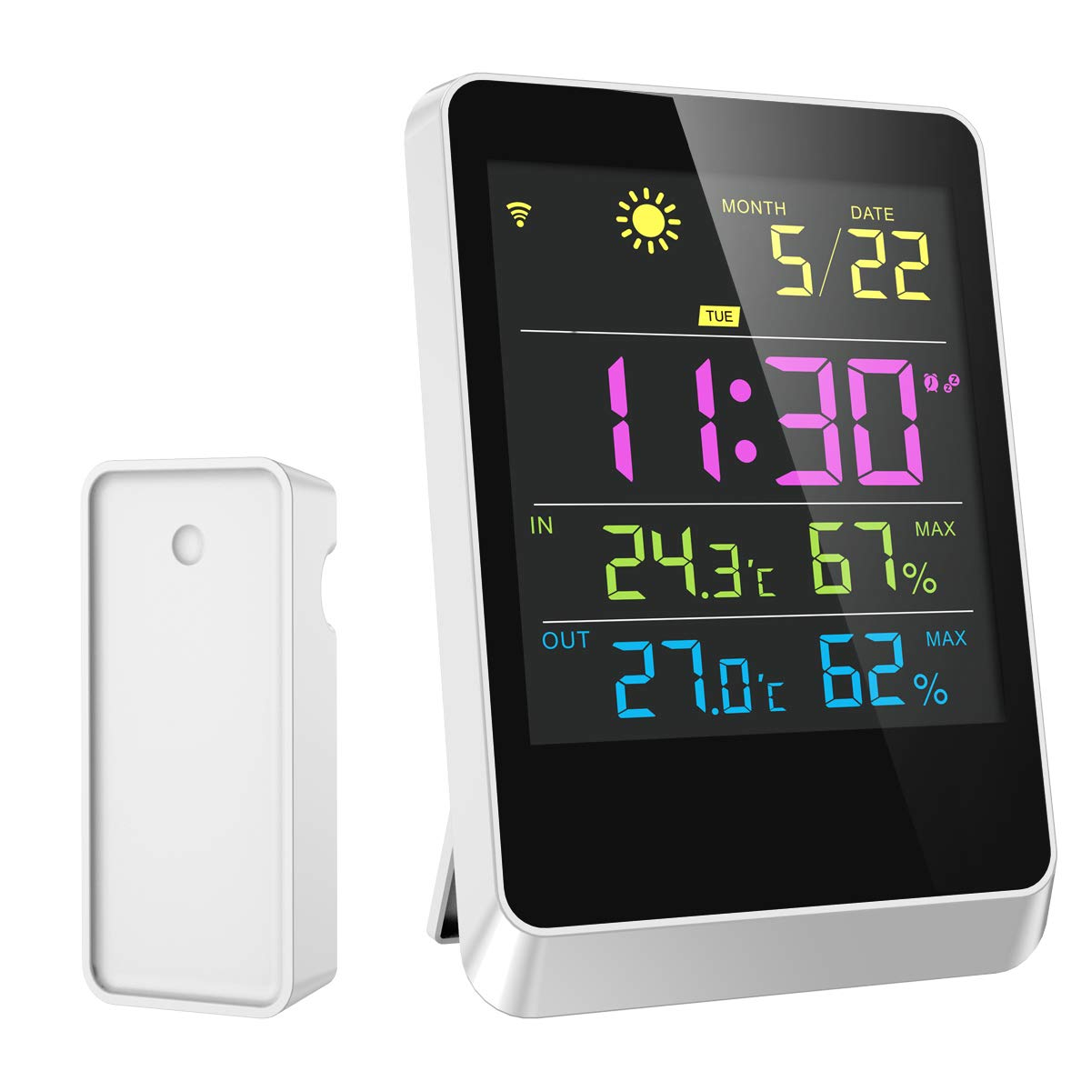Weather Station, KeeKit Wireless Color Forecast Station with Temperature, Humidity & Clock, Date, Indoor Outdoor Hygrometer Thermometer, Alarm Clock & Snooze Function for Home, Office, School, Bedroom