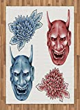 Kabuki Mask Area Rug by Ambesonne, Different Colored Masks of Japanese Demoness Figures Ornate Flowers Art, Flat Woven Accent Rug for Living Room Bedroom Dining Room, 5.2 x 7.5 FT, Blue Red White