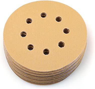 600 Grit 5 Inch No Hole Hook and Loop Sanding Discs for Orbital DA Sanders 100 Pack