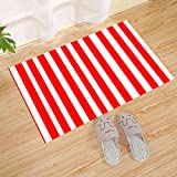 JANNINSE Merry Christmas Style Bright Red And White Vertical Striped Door Mat, 18X30 Inch,Entrance Rugs Carpet Non Slip Indoor/Outdoor/Front Door/Bathroom