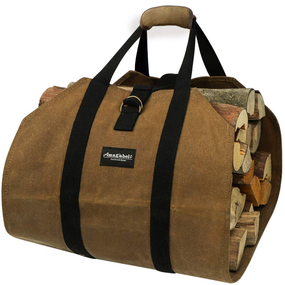 Amagabeli Fireplace Carrier Waxed Canvas Fire Place Sturdy Wood Carring Bag with Handles Security Strap for Camping Indoor Firewood Logs Tote Holder Birchwood Stand