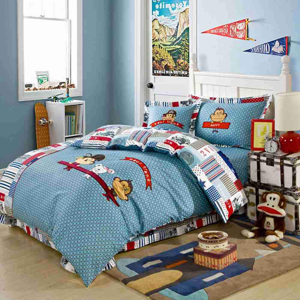Warm Embrace 子供用寝具セット 100%コットン 男の子用寝具 バッグ入り 掛け布団カバー 枕カバーとフラットシーツと掛け布団 クイーンサイズ 5点 クイーン ブルー B07K2WSDPK  クイーン