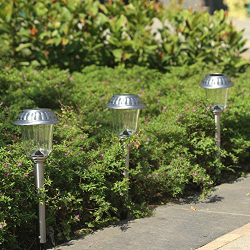 EZSolar Solar Pathway Lights Outdoor of Stainless Steel Case, Glass Lens, Garden Lights for Patio, Walkway- 8 Packs by EZSolar (Image #5)