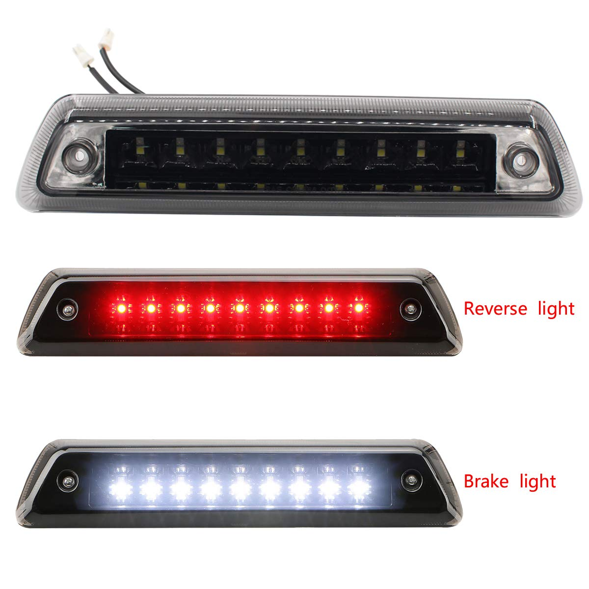 XtremeAmazing High Mount LED 3RD Third Brake Light Cargo Lamp Assembly for Automotive Tail Lights Smoke Lens