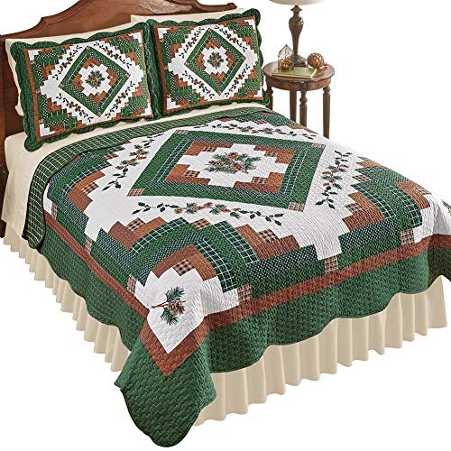 Collections Etc Woodland Pinecone Lodge Reversible Patchwork Quilt with Scalloped Edges, Green and Red, King (Collection Pine Bedding Cone)