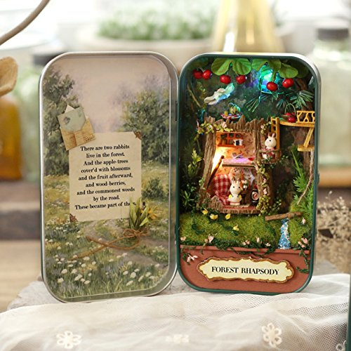 Ogrmar Dollhouse Mini DIY Forest Rhapsody Box Theatre Miniature House with Controllable LED Lights