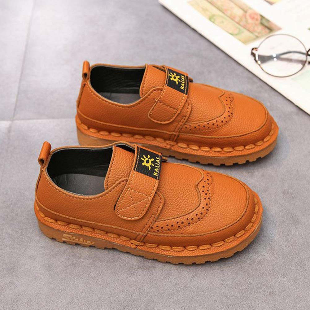 F-OXMY Toddler Little Kids Wing-Tip Brogue Oxfords Dress Shoes Boys Comfy Slip On Walking Casual Shoes Brown by F-OXMY (Image #3)