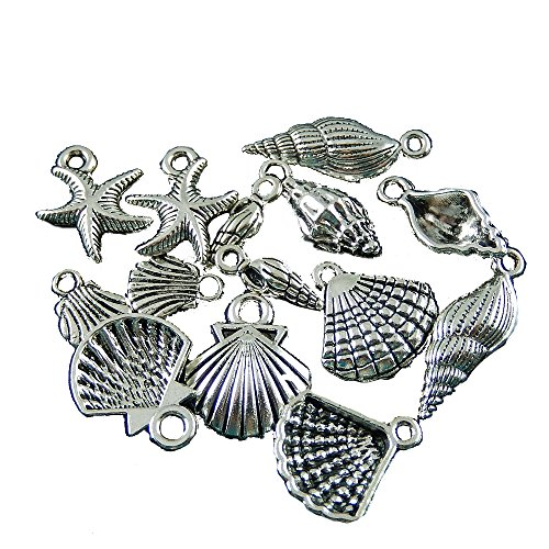 JulieWang 50pcs Antique silver Starfish Seashell Conch Pendant Charms for jewelry Making