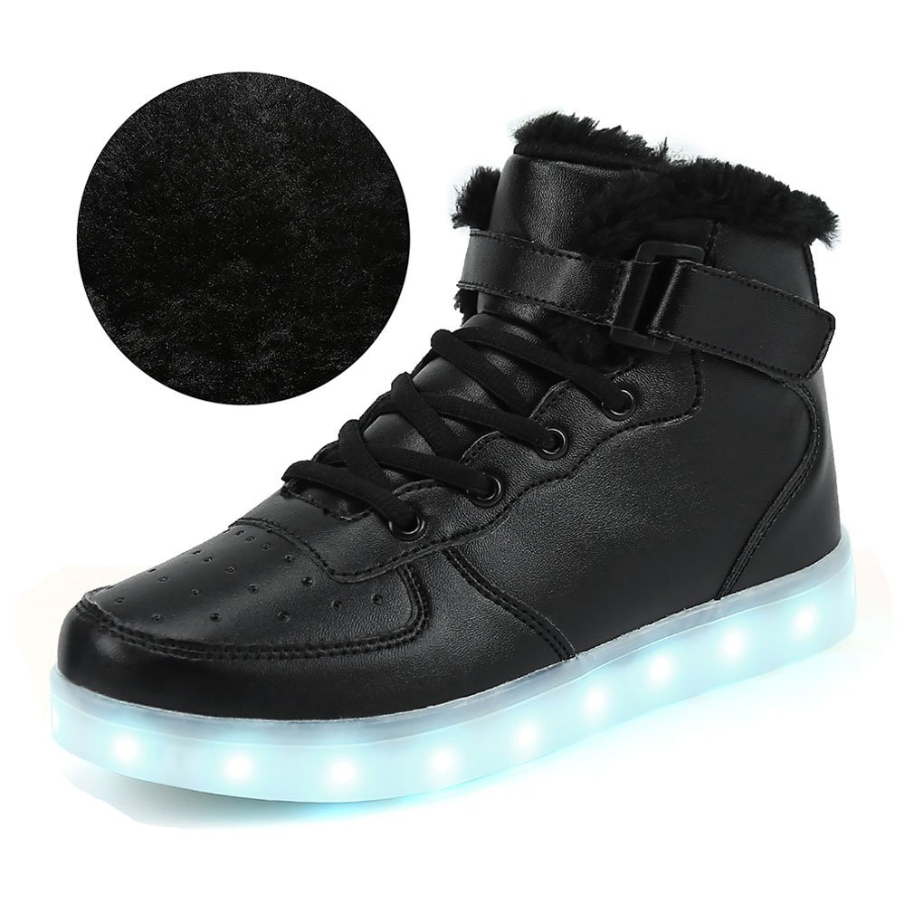 FLARUT Kids LED Light up Shoes Children High Tops Winter Sneakers for Boys Girls School Boots Christmas Party Dancing with USB Charging(Cotton 35,Black)