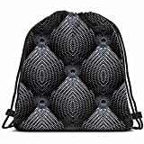 Halftone 3 D Greek Key Dotted Decor Drawstring Backpack Sports Gym Bag For Women Men Children Large Size With Zipper And Water Bottle Mesh Pockets