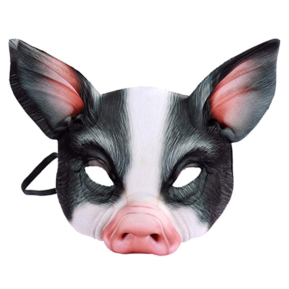 Scary Animal Halloween Masks.Pig Mask Scary Half Face Animal Masks Funny Costume Adult Halloween Masquerade Party Cosplay Black Amazon In Clothing Accessories