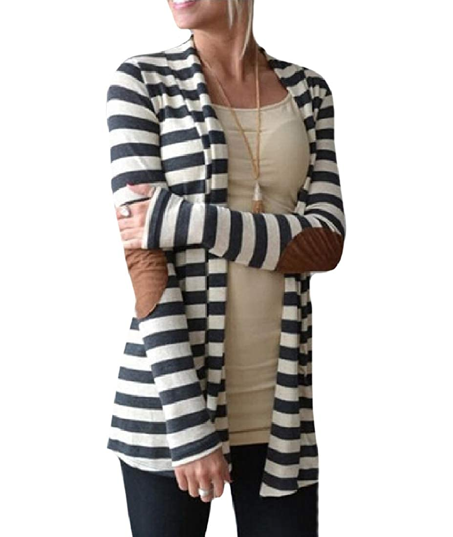 Freely Womens Strip Patch Tops Outwear Fall Winter Cardi Trench Coat