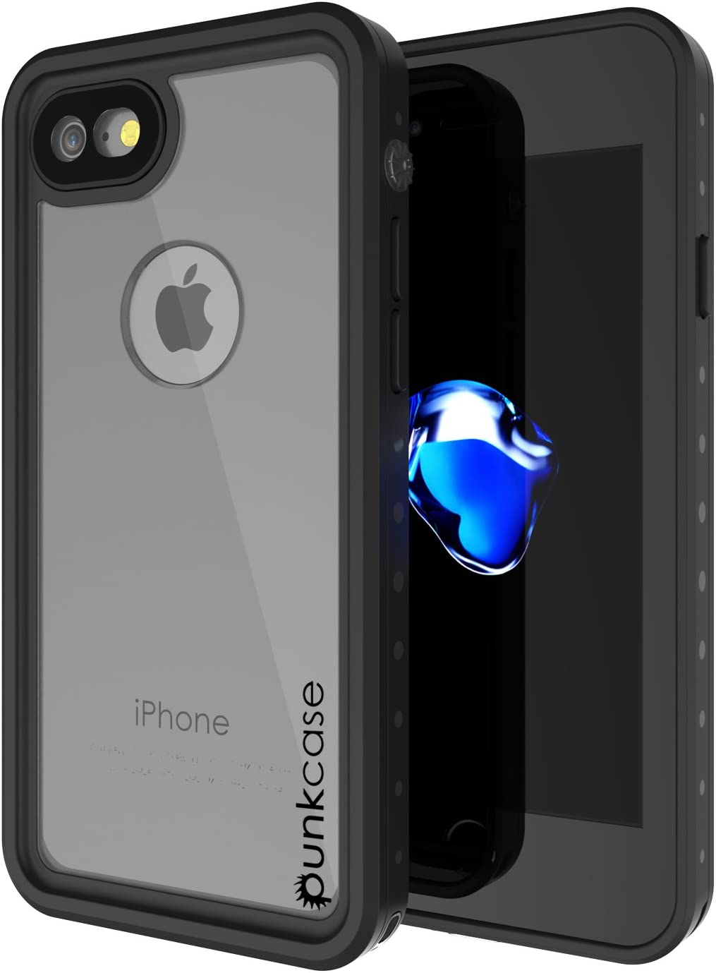 iPhone 8 Waterproof Case, Punkcase [StudStar Series] [Slim Fit] [IP68 Certified] [Shockproof] [Dirtproof] [Snowproof] Universal Armor Cover for Apple iPhone 7 & 8 [Clear]