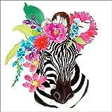 Paperproducts Design PPD 1332748 Flora Zebra Lunch Paper Napkins, 6.5'' x 6.5'', Multicolor