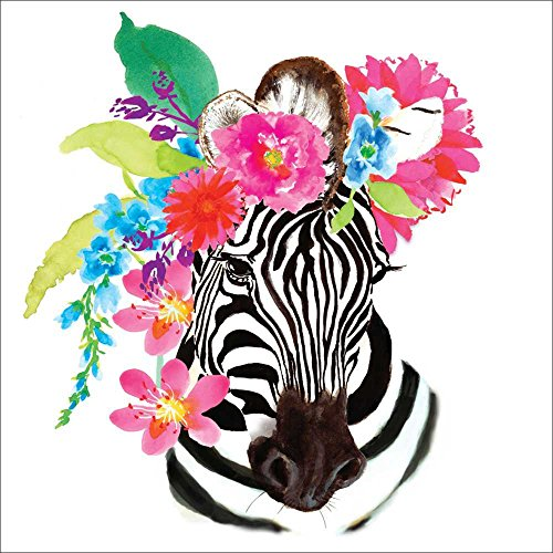 Paperproducts Design PPD 1332748 Flora Zebra Lunch Paper Napkins, 6.5