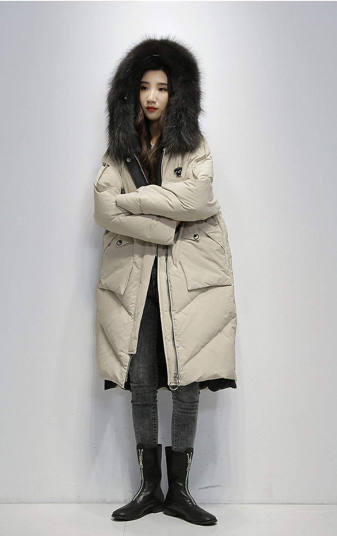 GUOYANGPAI Thick Loose Down Coat Women Long Jacket Coat Winter Female Hooded Warm Down Jacket Women Overcoat Beige
