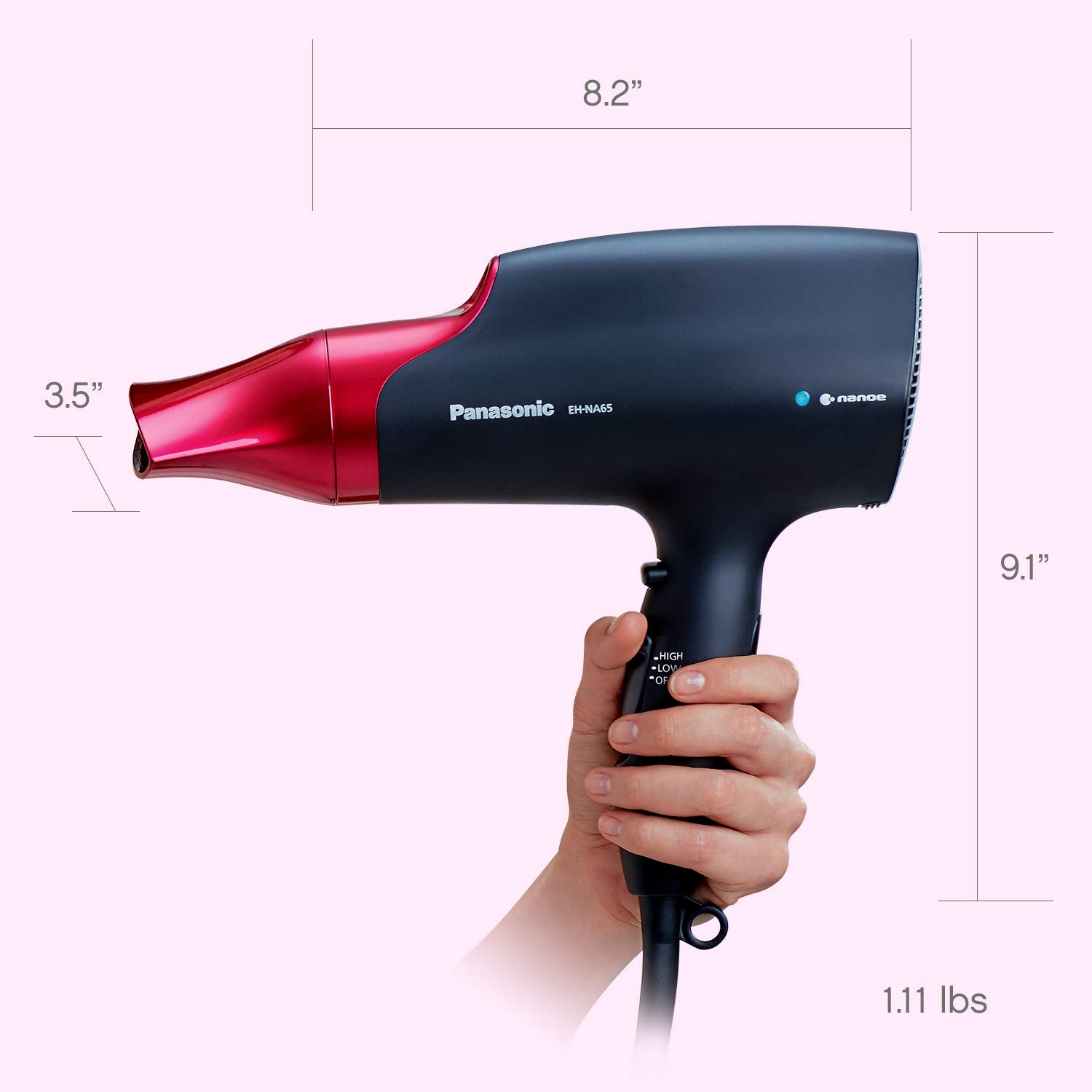 Panasonic EH-NA65-K nanoe Dryer, Professional-Quality with 3 attachments Including Quick Blow Dry Nozzle for Smooth, Shiny Hair, Pink by Panasonic (Image #10)