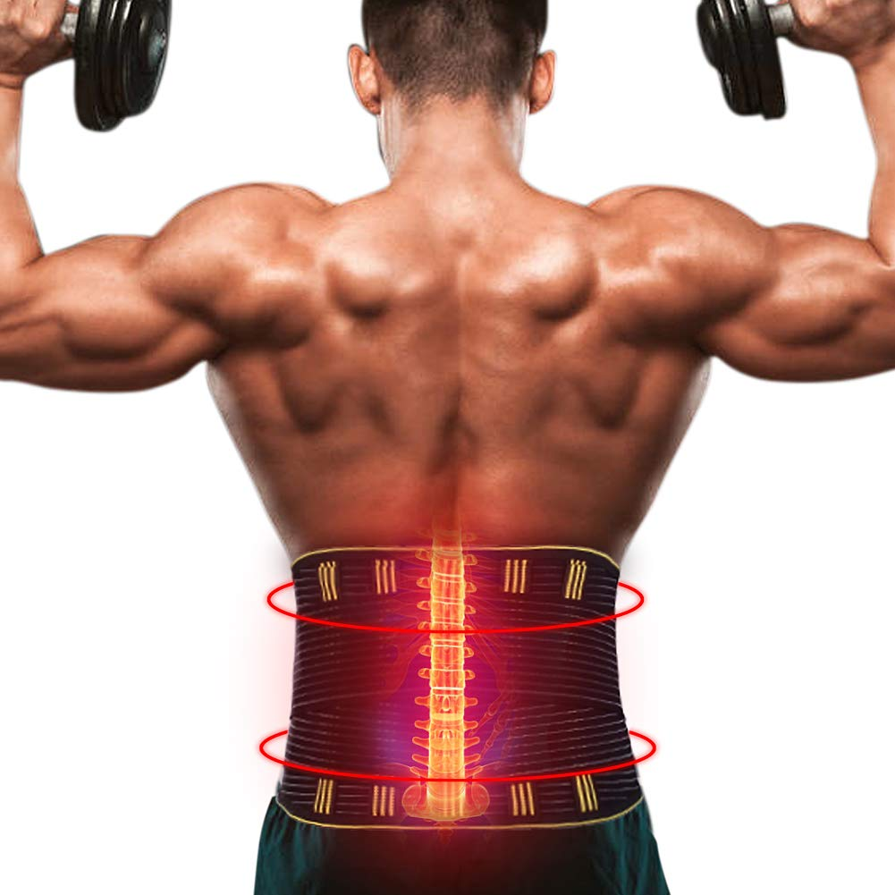 GENERAL ARMOR Back Brace Lumbar Support Belt with Dual Adjustable Straps Provides Lower Back Pain Relief, Men & Women