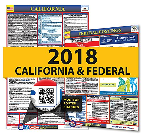 2018 California State & Federal Labor Law Posters for Workplace Compliance (Wage Poster Minimum Ca)