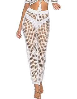 ec145d1910 Julier Womens Cover Up Pants Sexy Hollow Out Crochet High Waist Mesh Beach  Bikini Swimsuits Pants
