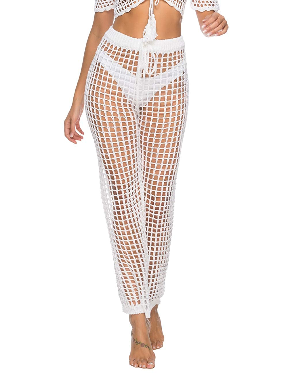 Julier Womens Cover Up Pants Sexy Hollow Out Crochet High Waist Mesh