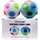 CPSYUB Rainbow Puzzle Ball Cube 2 Pack Magic Rainbow Ball Puzzle Bundle Stress Fidget Sensory Ball Brain Teasers Games Fidget Toys for Kids or Adults