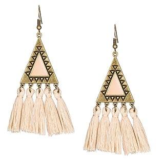 DIY Crafts Charm Earrings Long Cloth Tassel Earrings Women Triangle Style Tassel Hook Earrings(Beige)