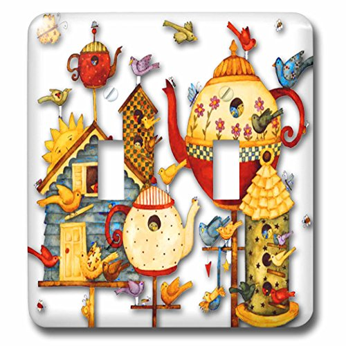 3dRose lsp_184658_2 Pretty Decorative Teapots and Birdhouses Light Switch Cover