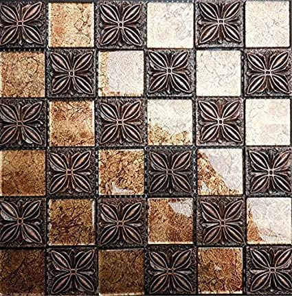 Gold Glass Mosaic Brown Coated Ceramic 3d Flower Pattern