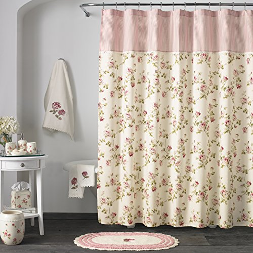 (Five Queens Court Rosalind 100% Cotton, Embellished, Crochet Trim, Country Chic Floral Shower Curtain, Pink Rose)