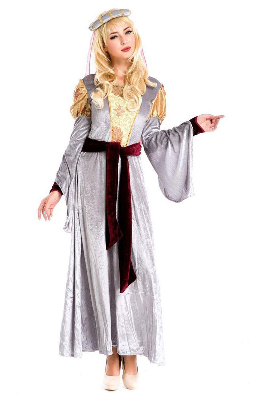 Vintage Mittelalter Kleid Cosplay Kostüm Langarm Königin Gothic Kleid Silber