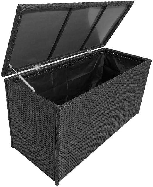SOULONG Baúl de jardín, baúl de jardín, baúl para Exteriores, con Cubierta Interior Impermeable, baúl de Exterior de ratán sintético, Almacenamiento de jardín Exterior, Negro, 120 x 50 x 60 cm: Amazon.es: Hogar