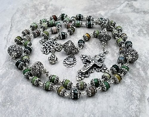Ave Maria Blessed Virgin Mary Agate Sterling plated Ornate Gemstone Rosary for Joy,Protection,Vitality,Success,Balance. ()