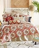 4 Piece Full/Queen Size Bohemian Floral Elephant Quilt Set with Decorative Pillow