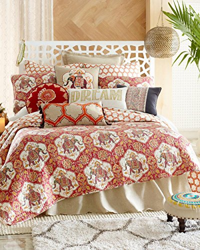 4 Piece Full/Queen Size Bohemian Floral Elephant Quilt Set with Decorative Pillow by Levtex