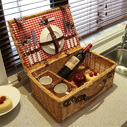 Vogvigo outdoor picnic straw baskets storage baskets rattan picnic basket with cutlery basket lid meal (coffee)