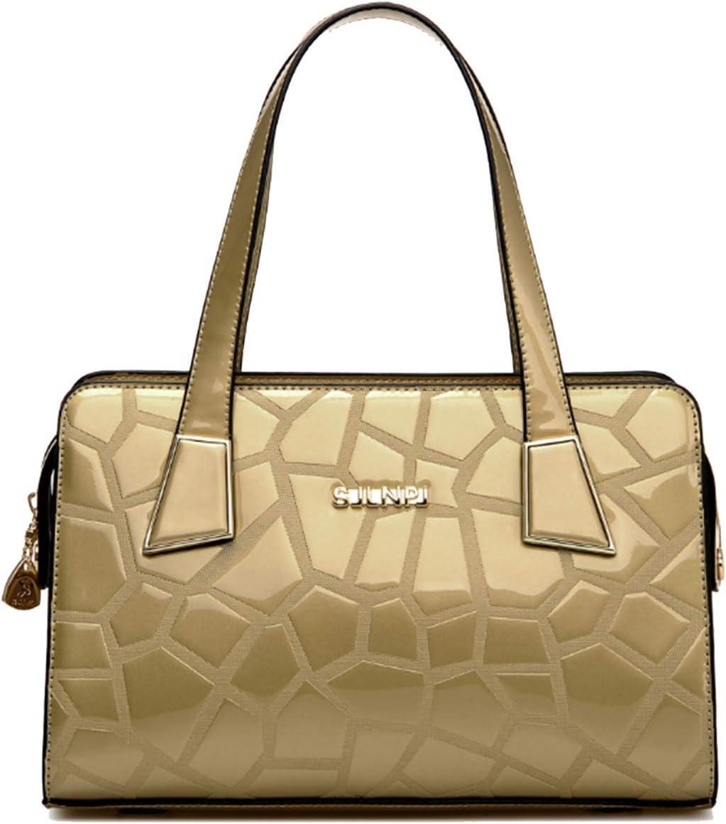 KOON Womens Patent Leather Grid Pattern Totes Fashion Shoulder Bags Elegant Top Hande Bag Black