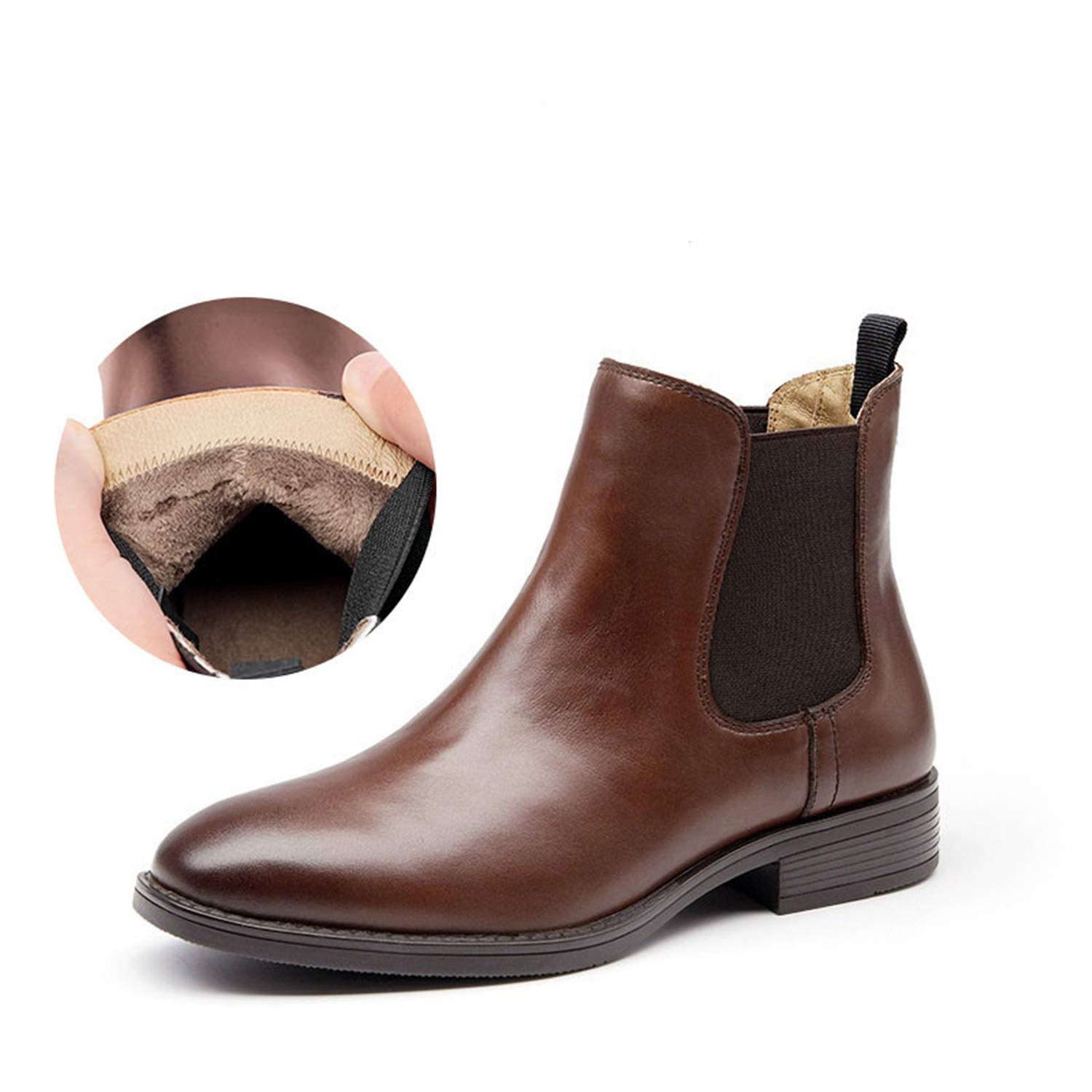Brown Short Plush Chelsea Boots Women Genuine Calfskin Leather Autumn Winter Ankle Boot shoes Handmade