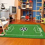 Furnish my Place 685 Solid Soccer Rectangle 4X6 Ground Kids Area Rug, 4'5'' x6'9, Green