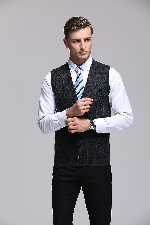 FULIER Mens Winter Wool V-Neck Gilet Sleeveless Vest Waistcoat Casual Gentleman Knitwear Cardigans Knitted Sweater Tank Tops Dress Buttons Design