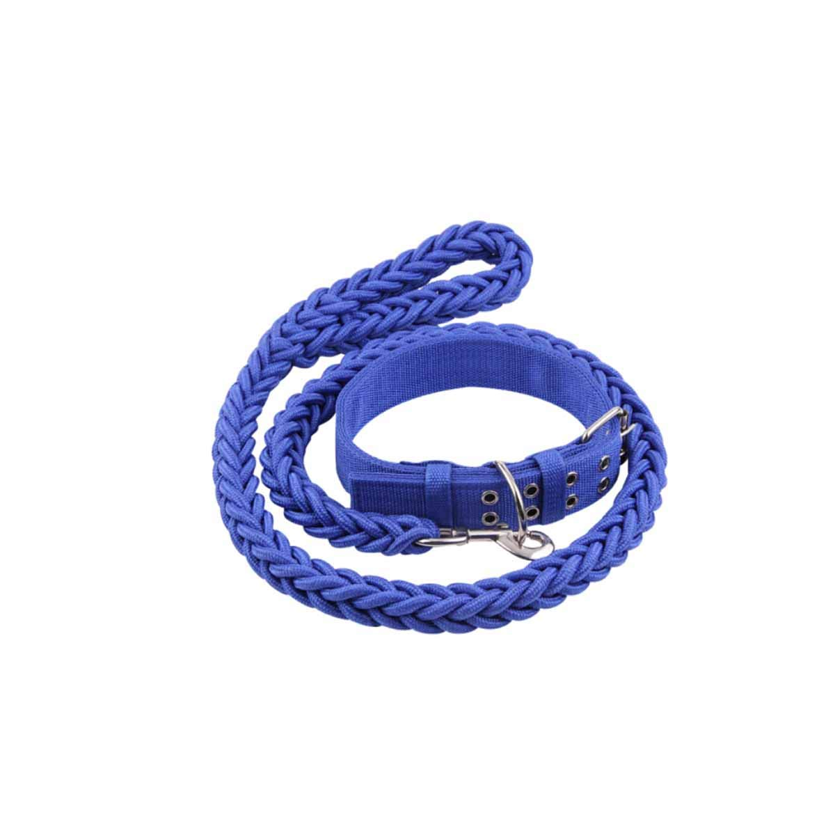 Dog Leash, Large and Medium Dog, Hyena Rope, golden Hair Labrador, Dog Leash, Collar, Pet Supplies, (color   bluee, Size   S)
