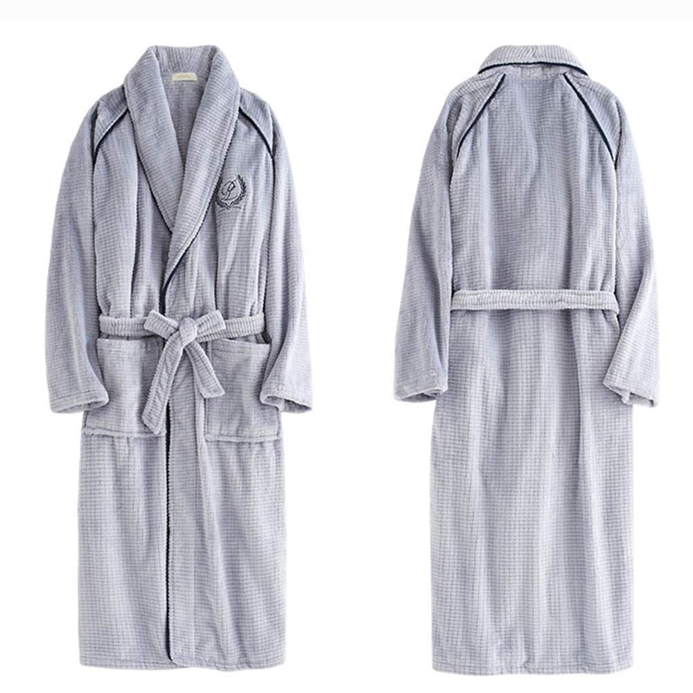 ZZHF shuiyi Pajamas Lovers Thicken Lengthened Nightgown Winter Keep Warm Comfortable Men Bathrobe Household Loose Convenient Leisure Home Clothing Pajamas Color : Gray-Male, Size : L