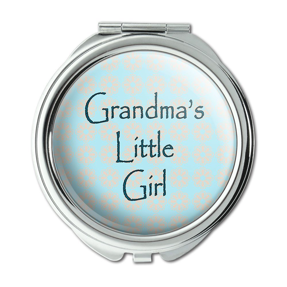 Graphics and More Grandma s Little Girl Teal with Flowers Compact Purse Mirror