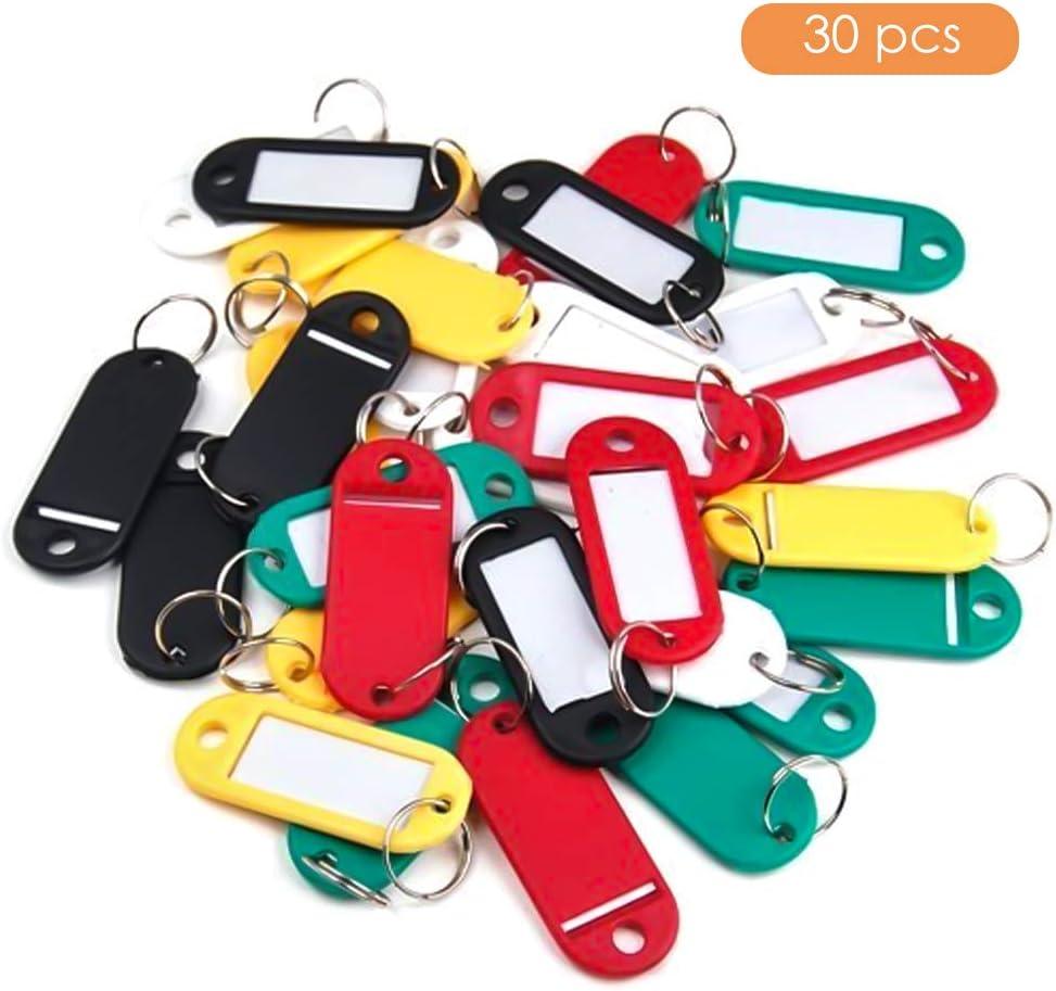 Qoosea 30Pcs Targhetta portachiavi in plastica assortita Targhetta portachiavi in plastica con etichetta Portachiavi identificativo per i bagagli dellhotel scolastico