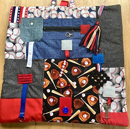 Fidget Blanket for Dementia   Fidget Quilt   Alzheimer's Blanket   ALL AMERICAN BASEBALL   by Restless Remedy