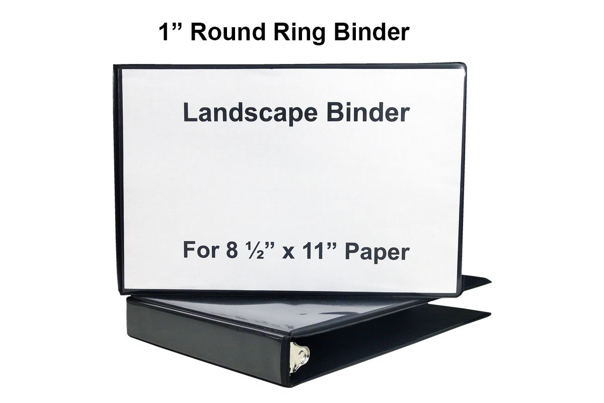 """1"""" Heavy Duty Landscape Binder - Black vinyl - Holds text in horizontal format - Overlay inserts for the front, spine and back with inside pockets - Great for engineering drawings, city planning, by LandscapeBinder-com (Image #6)"""