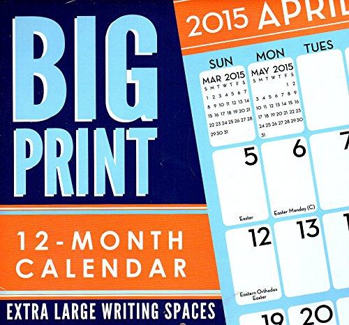 Big Print - 2015 12 Month Wall Calendar - 12x11